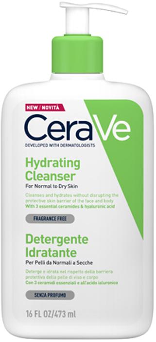 CeraVe Увлажняющий очищающий крем-гель для нормальной и сухой кожи лица и тела, 473 мл