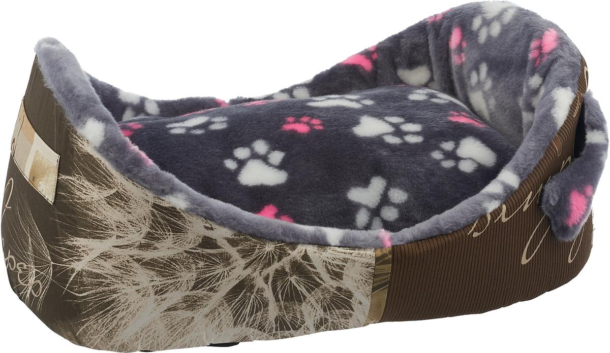 """Лежак для кошек и собак """"Гамма"""", 58 х 38 х 22 см, цвет: серый"""