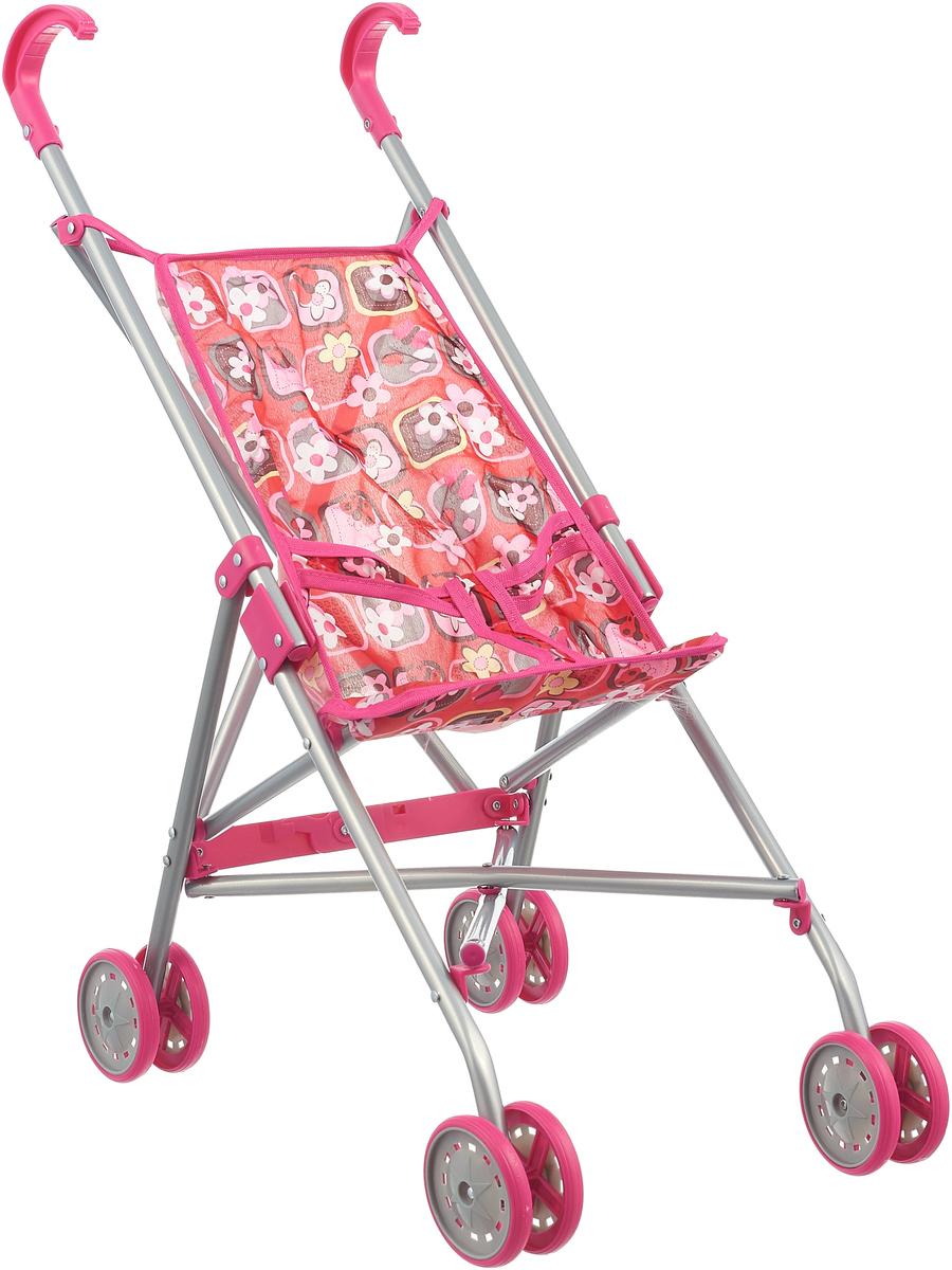 Карапуз Коляска-Трость для кукол 63AC-C4 Цветочки, цвет: красный коляска трость