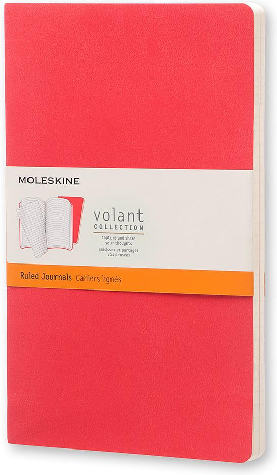 Moleskine Блокнот Volant Large 13 x 21 см 48 листов в линейку цвет красный бордовый 2 шт