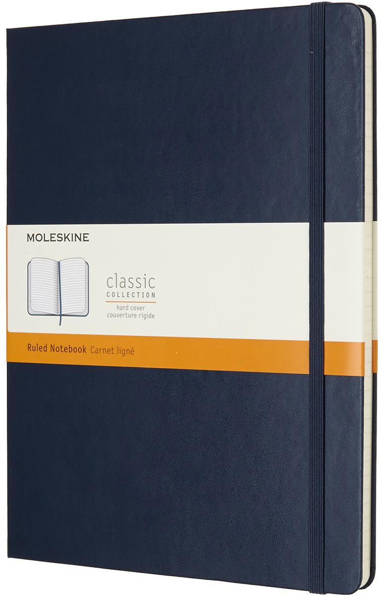 Moleskine Блокнот Classic Xlarge 19 x 25 см 96 листов в линейку цвет темно-синийQP090B20Классическая коллекция в новых смелых цветах и с чистыми страницами, которые только и ждут того, чтобы вы заполнили их своими идеями.Включает все характерные элементы легендарного блокнота: скругленные углы, страницы цвета слоновой кости, эластичная застежка, ленточные закладки и расширяемый кармашек сзади, в красочной твердой обложке.