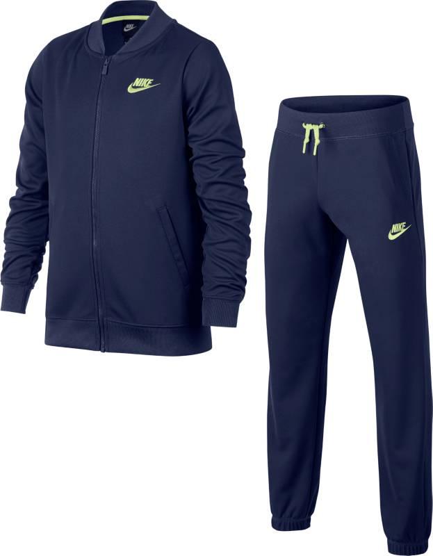 Спортивный костюм для девочки Nike G Nsw Trk Suit Tricot, цвет: синий. 868572-429. Размер L (146/158)868572-429Girls Nike Sportswear Track Suit комфорт и универсальность для любого вида спорта. Спортивный костюм для девочек Nike Sportswear состоит из куртки с молнией во всю длину и подходящих брюк. Комплект обеспечивает комфортную посадку и подходит для ношения вместе или по отдельности. Куртка с молнией во всю длину и воротником в бейсбольном стиле для улучшенной защиты. Карманы на куртке и брюках для удобного хранения. Эластичный пояс с утягивающим шнурком для индивидуальной посадки.