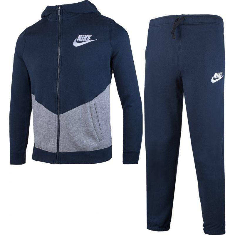 Спортивный костюм для мальчика Nike B Nsw Trk Suit Bf Core, цвет: синий, серый. 856205-451. Размер S (128/134)