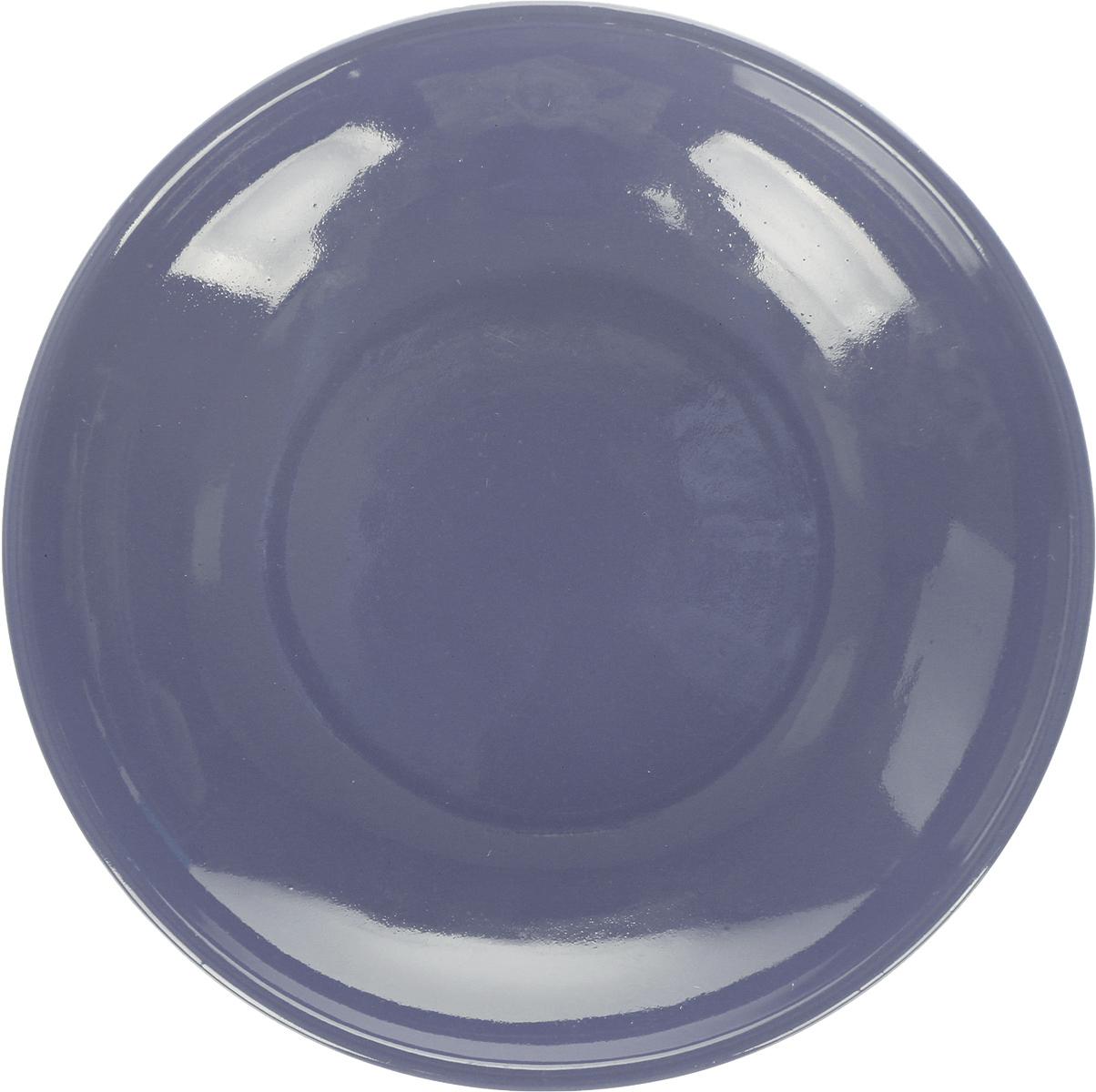 """Блюдце Борисовская керамика """"Радуга"""", цвет: темно-серый, диаметр 10 см"""