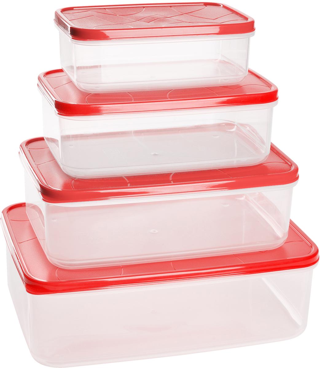"""Комплект контейнеров для продуктов Giaretti """"Vitamino"""", цвет: черри, 0,5 л + 1 л + 1,5 л + 2,5 л, 4 шт"""