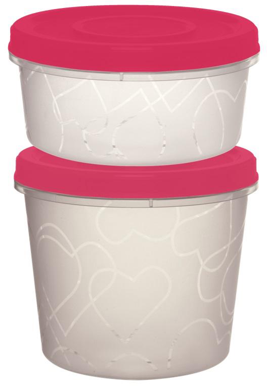 """Комплект емкостей для продуктов """"Giaretti"""" с завинчивающейся крышкой. Легкие емкости одинаково удобно взять с собой или хранить продукты дома, замораживать ягоды и овощи небольшими порциями. Тонкий, но вместе с тем прочный пластик обеспечивает надежность изделий.Объем контейнеров: 0,4 л и 0,7 л."""