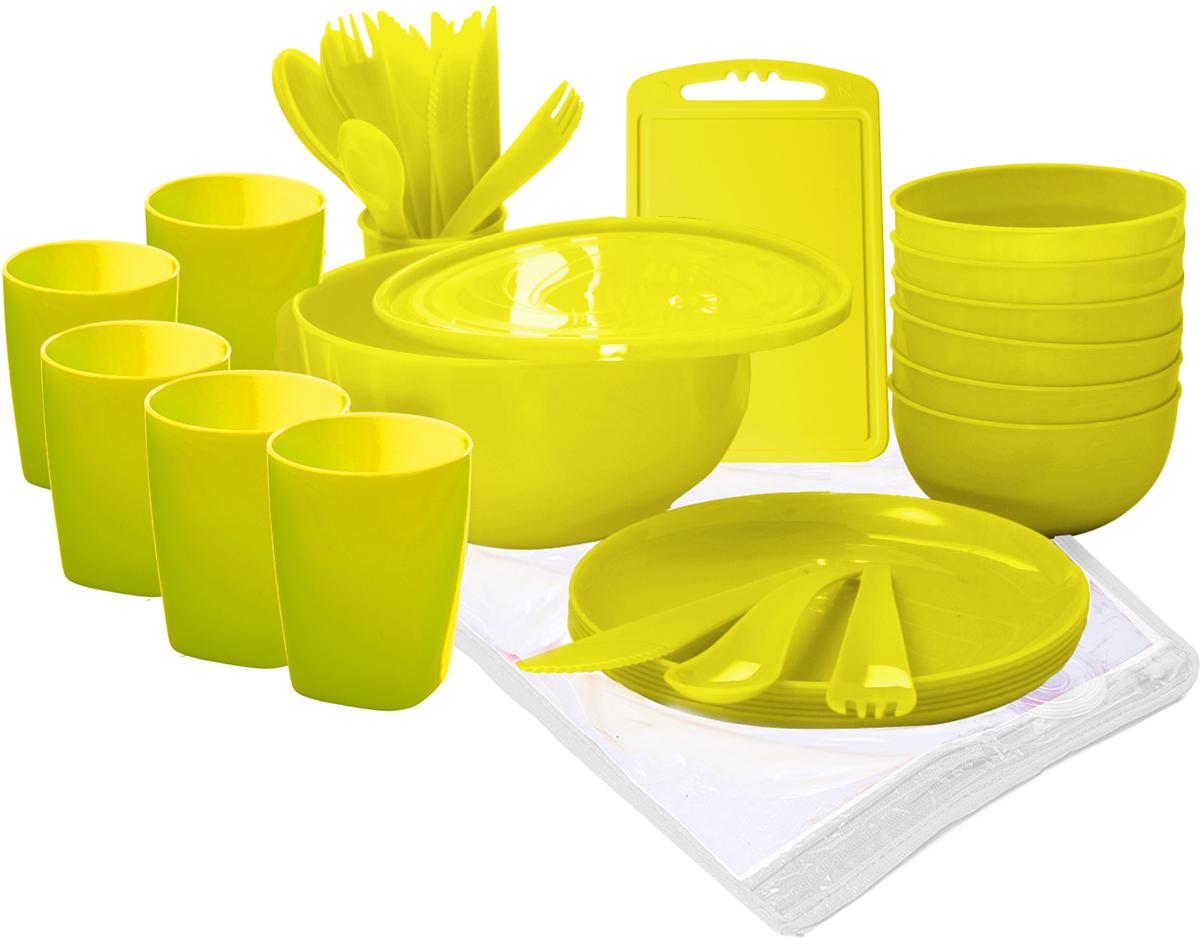 """Набор для пикника Plastic Centre """"Пир"""", на 6 персон, цвет: лимон, 38 предмета"""