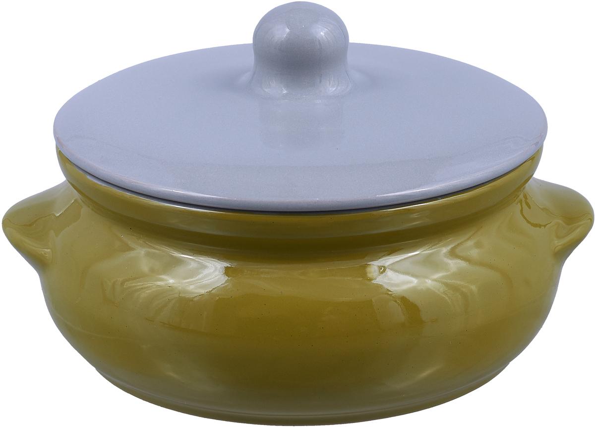 Горшок для запекания Борисовская керамика Радуга, цвет: зеленый, серый, 700 мл
