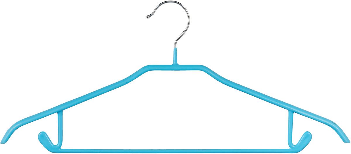 Вешалка для одежды Miolla, с расширенными плечиками, цвет: голубой, 42 х 19 х 3,5 см вешалка с закругленными плечиками quelle valiant 1011919