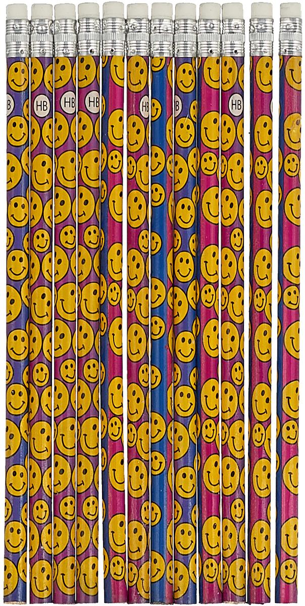 Набор карандашей чернографитных Смайлы твердость HB цвет корпуса мультиколор 12 шт набор карандашей чернографитных animal planet 4шт hb