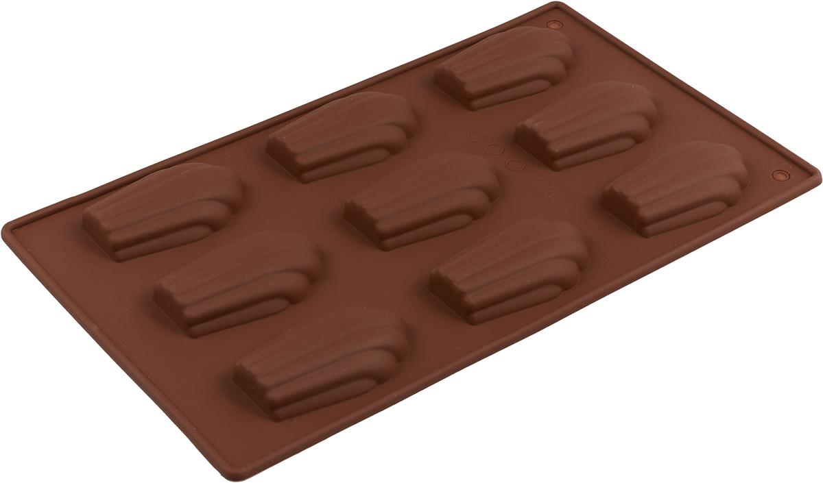"Форма для выпечки Доляна ""Ракушки"", цвет: темно-коричневый, 29,5 х 17 х 2 см, 9 ячеек"