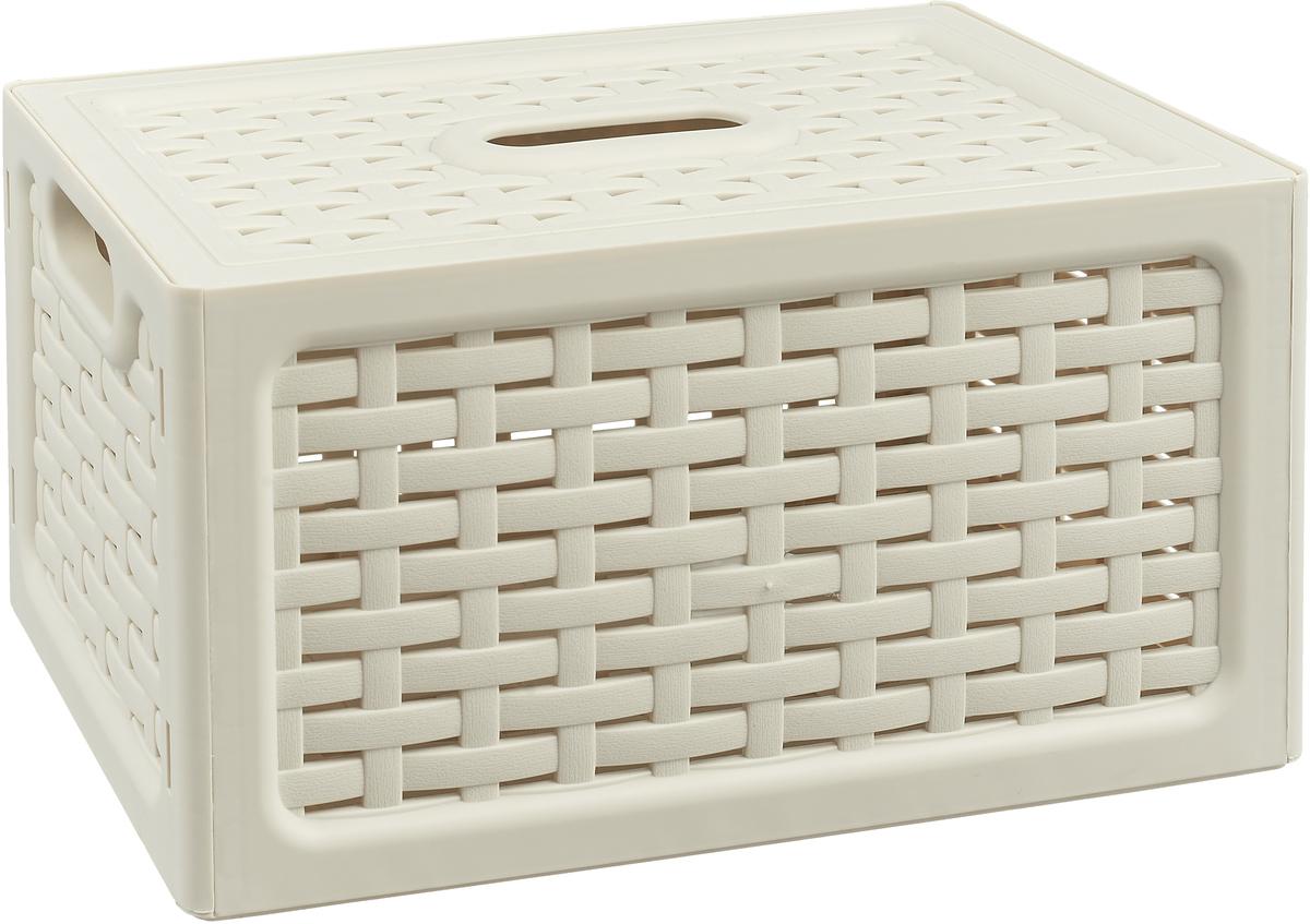 Ящик универсальный Idea Ротанг, с крышкой, цвет: белый ротанг, 28 х 18,5 х 14,5 см чулки soft line в крупную сетку красные xxl