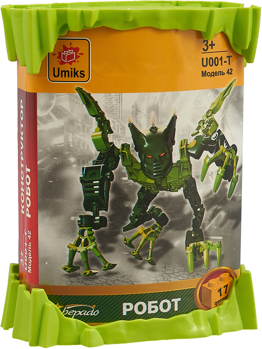 Umiks Конструктор Робот в тубе цвет зеленый конструктор sy ninja movie водяной робот 748 дет sy928