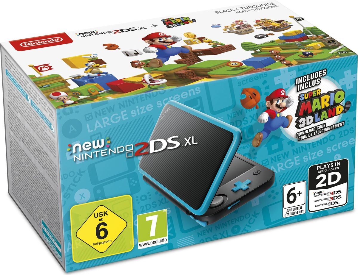 Игровая приставка New Nintendo 2DS XL, Black Turquoise + Super Mario 3D Land игровая приставка nintendo 2ds xl super mario 3d land black turquoise