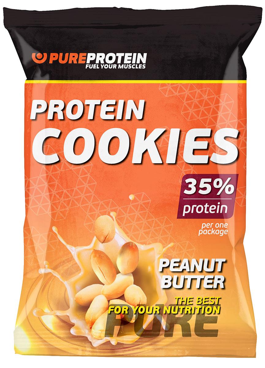 """Печенье PureProtein """"Protein Cookies"""", с высоким содержанием белка, арахисовое масло, 80 г"""