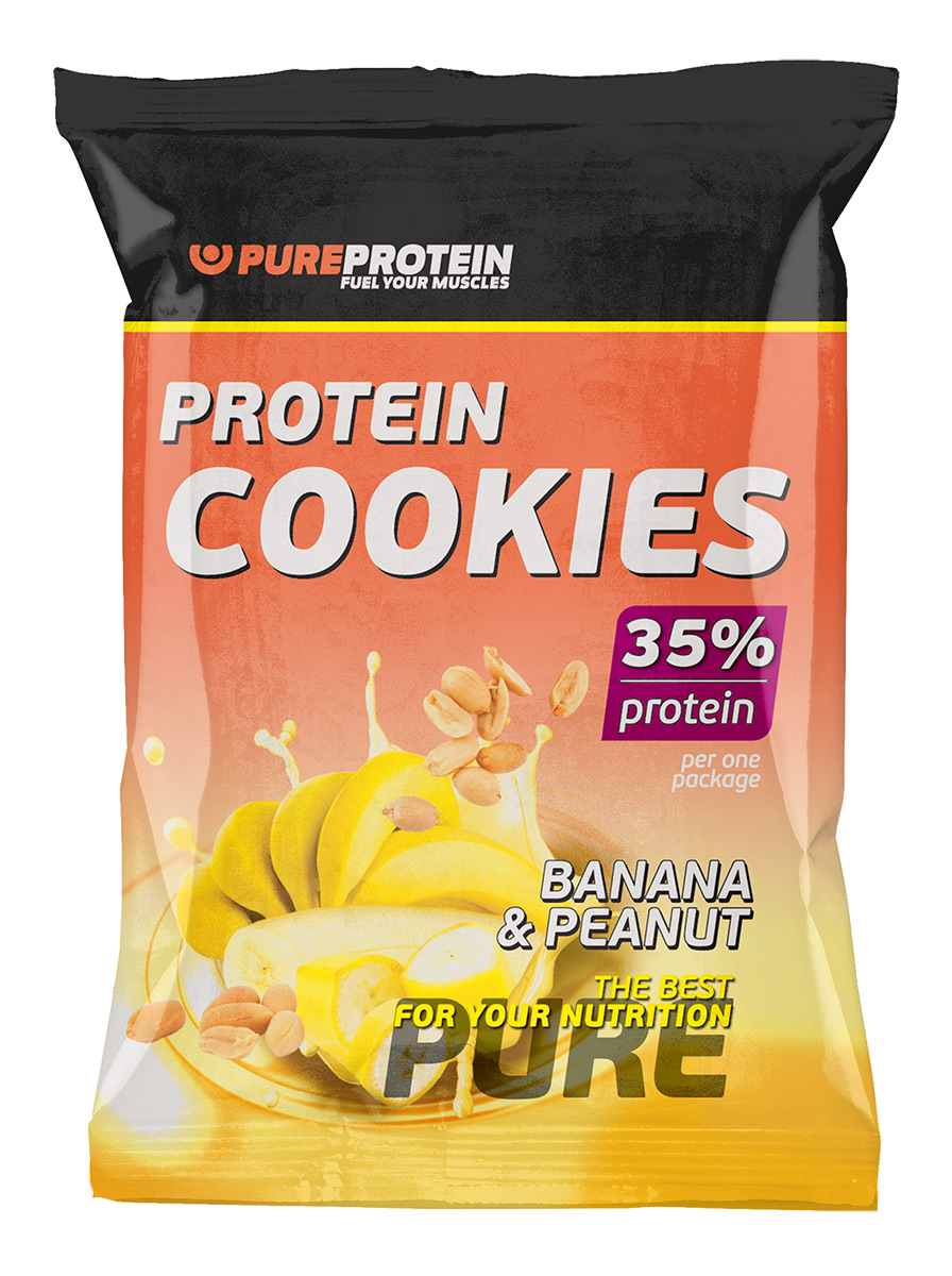 "Печенье PureProtein ""Protein Cookies"", с высоким содержанием белка, банан, арахис, 80 г"