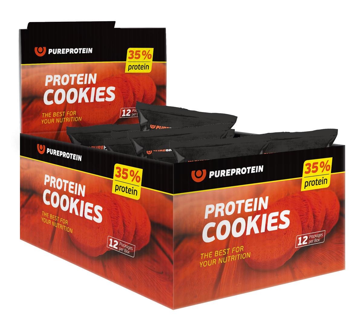 "Печенье PureProtein ""Protein Cookies"", с высоким содержанием белка, банан, арахис, 12 шт по 80 г"