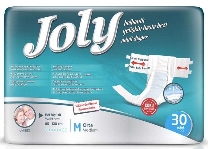 Joly Подгузники для взрослых Medium 30 шт5039031Дышащие эластичные боковины, застежки многократного использования, контроль запаха, ультра впитывающие, мягкий внешний и внутренний слой.Все эти качества обеспечат комфорт и уверенность при использовании премиум подгузников Joly.Произведены в Турции.