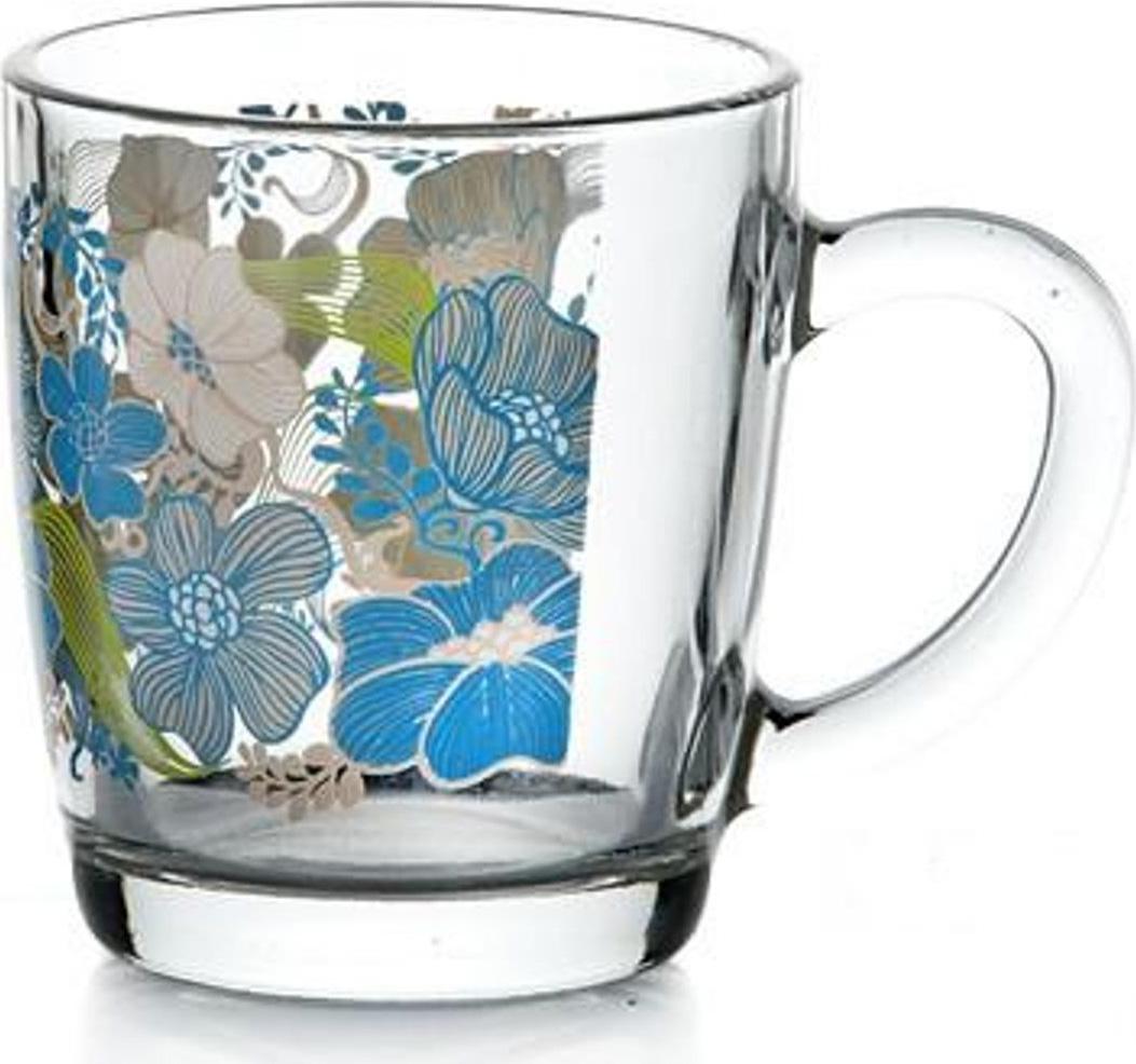 """Кружка с ручкой Pasabahce """"Blue dream"""" выполнена из закаленного прозрачного стекла. Кружка выполнена в оригинальном дизайне и станет отличным дополнением на вашей кухне.Объем: 350 мл."""