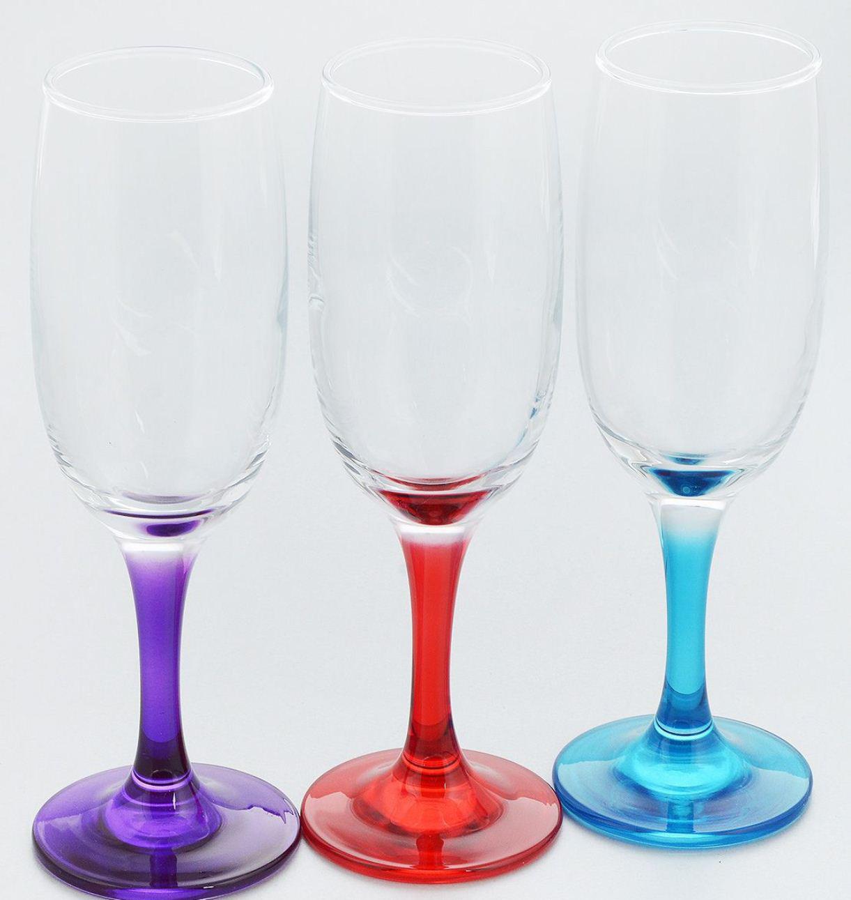 """Набор Pasabahce """"Enjoy"""" состоит из 3 бокалов c цветными ножками и подойдут для подачи шампанского. Такой набор прекрасно дополнит праздничный стол и станет желанным подарком в любом доме."""