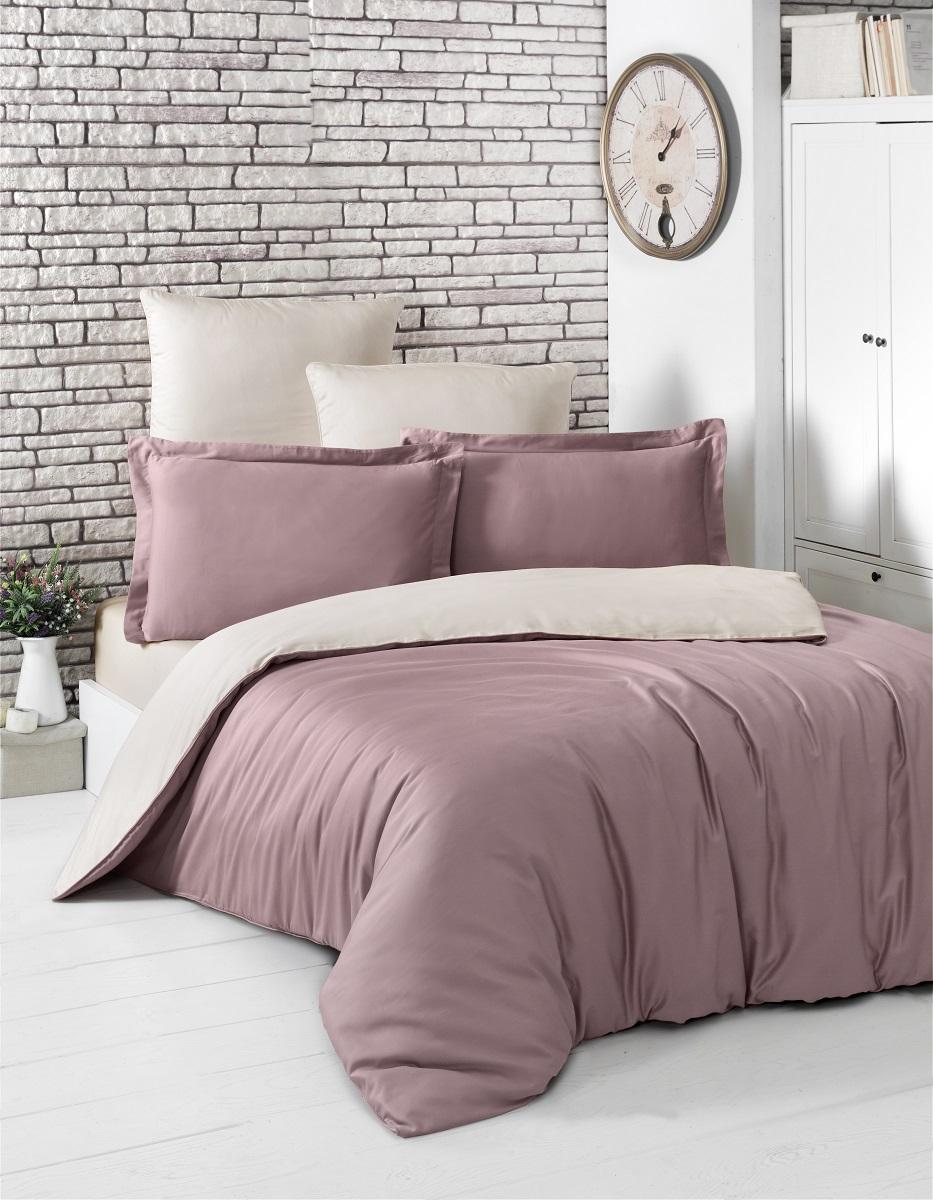 """Комплект белья """"Karna"""", 1,5-спальный, наволочки 50x70, цвет: розовый, бежевый. 2983"""