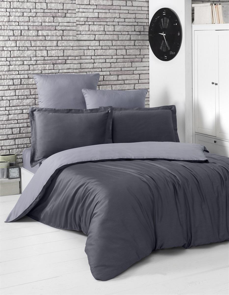 """Комплект белья """"Karna"""", евро, наволочки 50x70, 70x70, цвет: темно-серый, серый. 2984"""