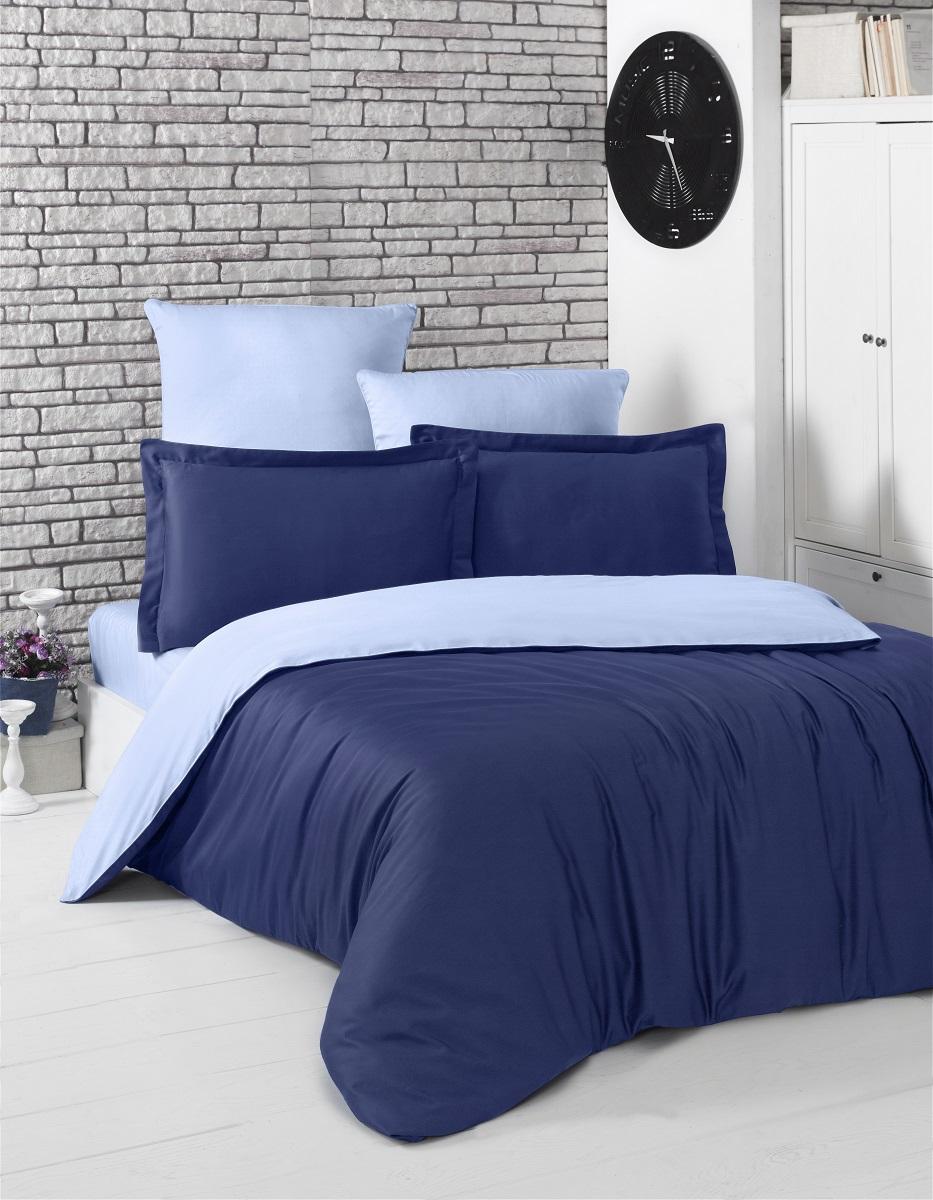 """Комплект белья """"Karna"""", евро, наволочки 50x70, 70x70, цвет: темно-синий, голубой. 2984"""