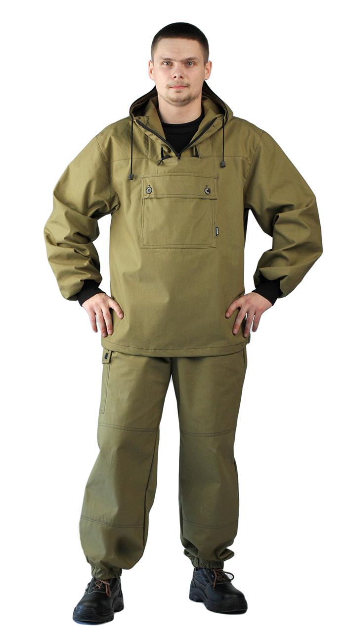 """Материал верха: """"Палаточное полотно"""" (100% хлопок), плотность 235 г/м2, водоотталкивающий.Костюм состоит из куртки и брюк.Куртка - капюшон регулируется по объёму (на затылочной части и по овалу лица)- противомоскитная сетки на молнии- рукава с трикотажными напульсниками- клапан с карманом на пуговицах- низ куртки на эластичной резинке с фиксаторомБрюки - прямые- пояс на резинке со шлёвками- боковой карман с клапаном на пуговицах- низ брюк на резинке"""