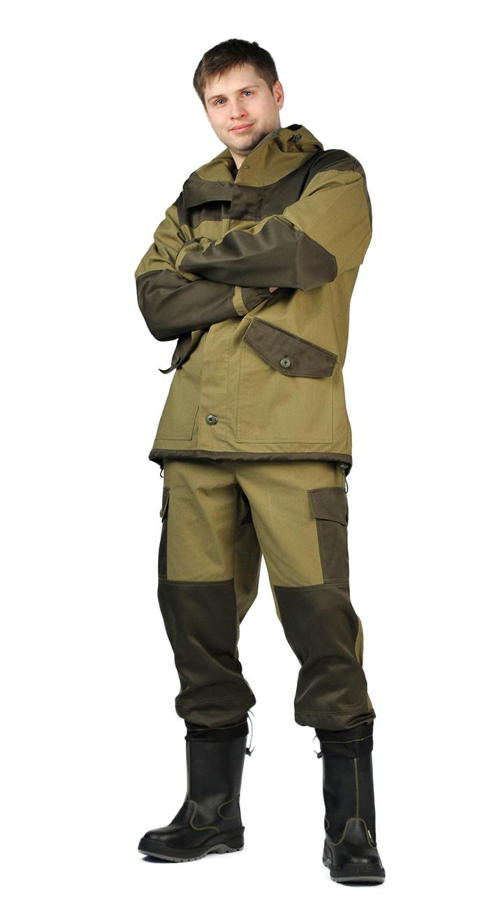 """Материал основной: """"Палаточное полотно"""" (100% хлопок) плотность 235 г/м2, водоотталкивающийКостюм состоит из куртки с брюкамиКуртка: - свободного кроя;- застёжка центральная супатная, на петлю и пуговицу;- капюшон с козырьком, имеет утягивающую кулису для регулировки по объёму;- в области локтя усилительные фигурные накладки;- 2 нижних накладных кармана с клапаном, на петлю и пуговицу;- низ рукавов на резинке;- по низу изделия кулиса для регулировки по объёму- Брюки: - свободного покроя с поясом на петлю и пуговицу;- гульфик с застёжкой на молнию;- 2 боковых накладных кармана с клапаном;- задние половинки под коленом собраны резинкой;- низ на резинке;"""