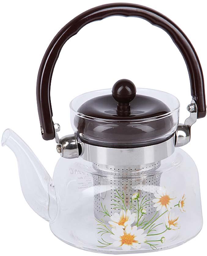 Чайник заварочный Rosenberg, цвет: черный, прозрачный, 600 мл. RGL-250018