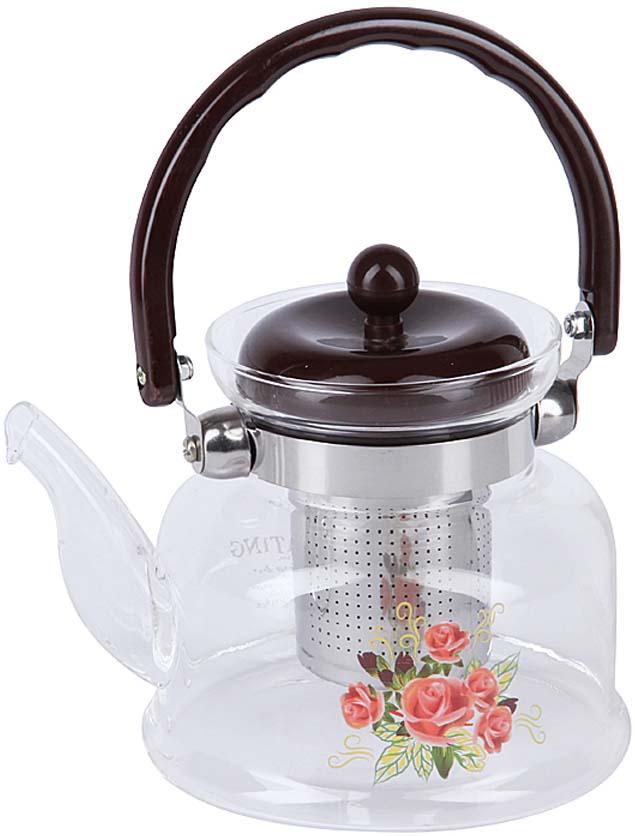 Чайник заварочный Rosenberg, цвет: черный, прозрачный, 800 мл. RGL-250021