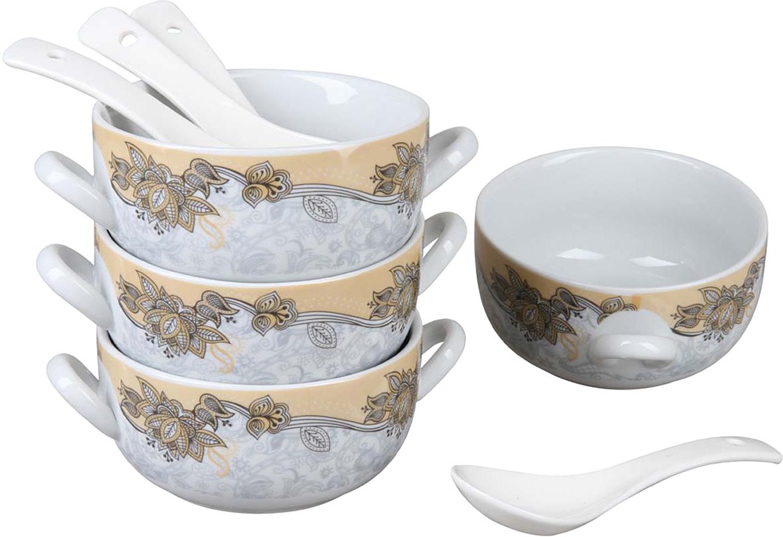 """Набор """"Rosenberg"""", выполненный из высококачественной керамики состоит из 4 бульонниц и 4 ложек. Керамика обладает термической и химической прочностью, поэтому изделия прослужат вам длительное время. Набор прекрасно подходит для подачи супов, бульонов и других блюд. Элегантный дизайн отлично впишется в интерьер любой кухни. Такой набор подчеркнет стиль и индивидуальность вашей кухни, а также оригинально дополнит обеденную сервировку стола. Размеры бульонницы: 15 х 11 х 5.5 см.Объем бульонниц: 300 мл. Ложка 13.5 см."""