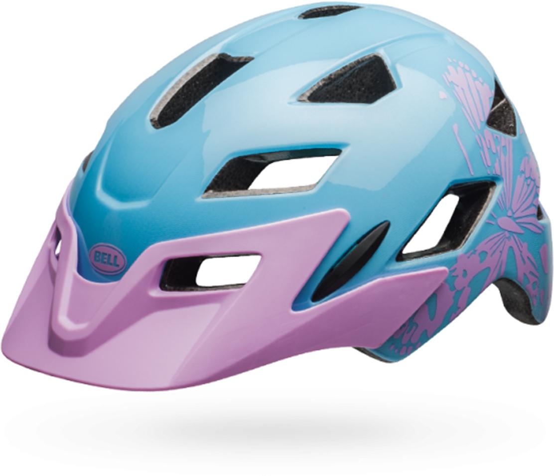 Шлем защитный детский Bell 18 Sidetrack. Бабочка, цвет: голубой, сиреневый. Размер XS (47/54)