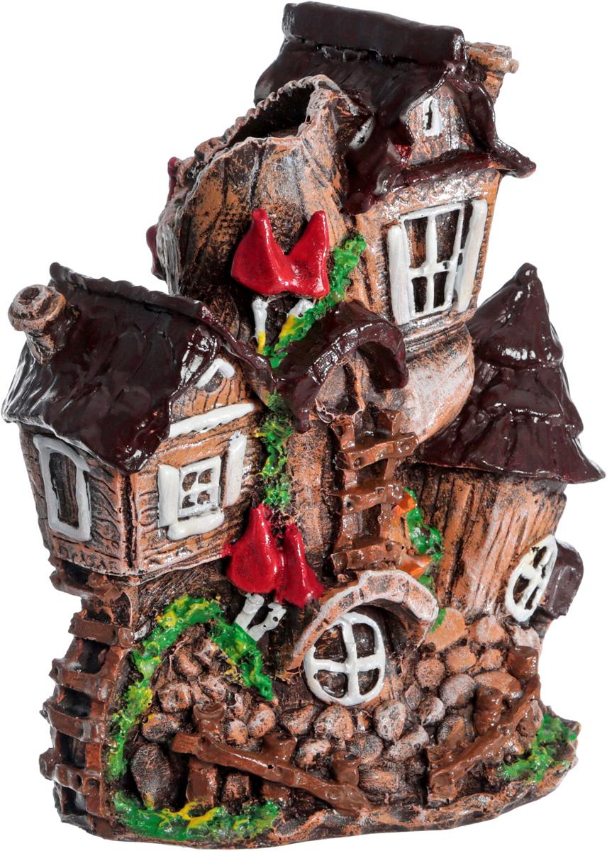 Фигурка Домик-коряга, цвет: коричневый, красный ,зеленый высота 20 см фигурки садовые esschert design фигурка арт tt118 тм esschert design