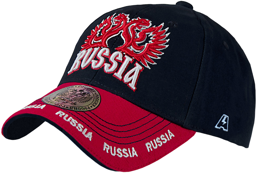 Бейсболка детская Atributika & Club Россия, цвет: черный, красный. 10152. Размер 52/54