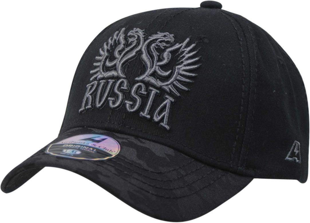 Бейсболка детская Atributika & Club Россия, цвет: черный, серый. 101585. Размер 52/54