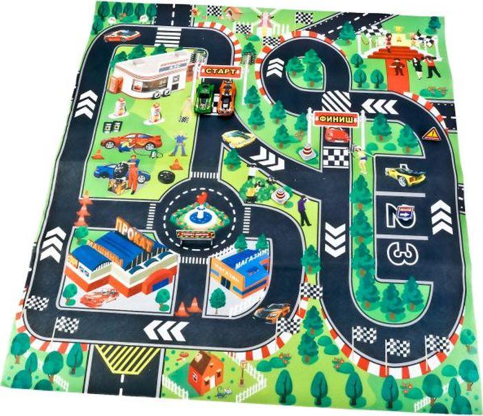 ТехноПарк Коврик игровой с 2 машинками с дорожными знаками