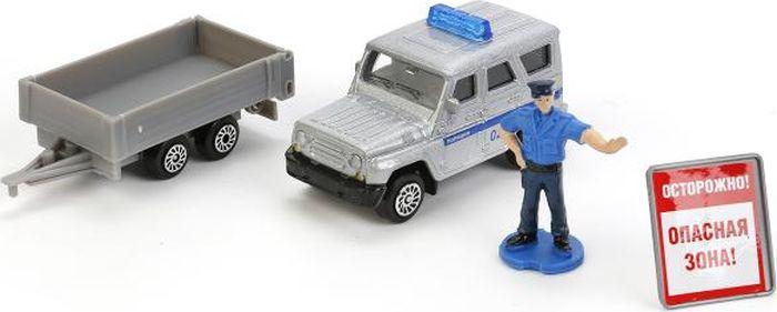 Технопарк Машинка УАЗ Hunter с прицепом машинка технопарк уаз патриот полиция 1 50