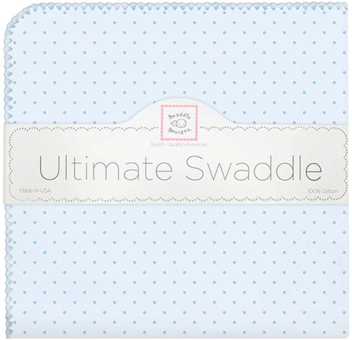 SwaddleDesigns Пеленка фланелевая Blue w Blue Dot фланелевая пеленка swaddledesigns для новорожденного pink chickies sd 162p