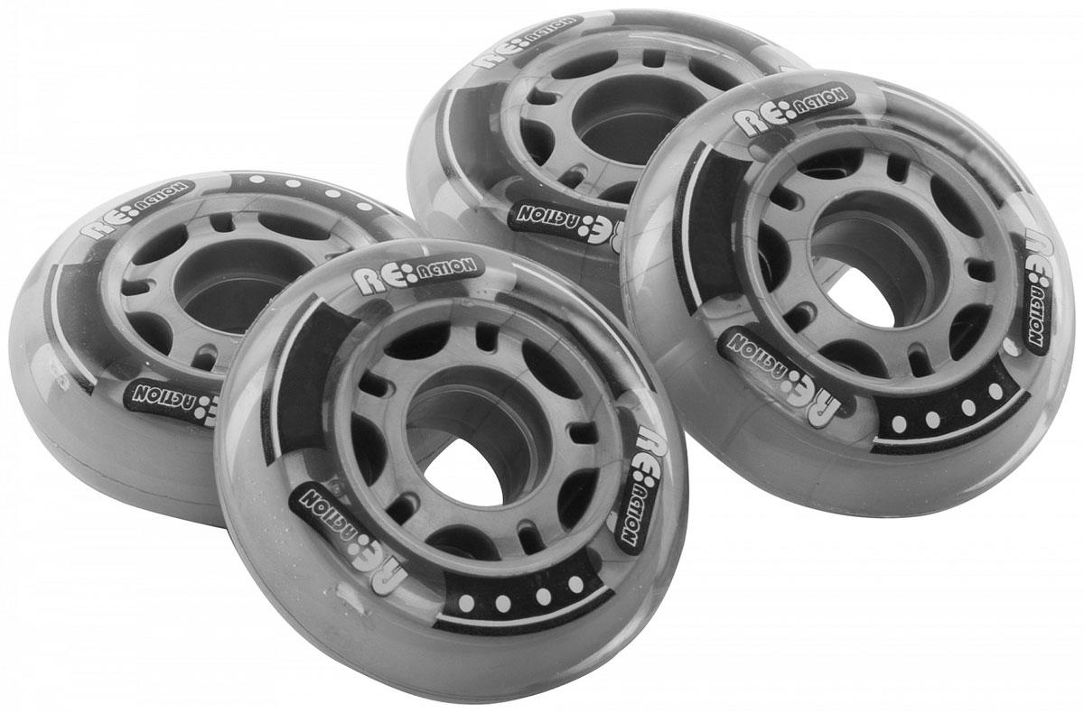 """Колеса для роликов """"Reaction"""" обладают отличными скоростными характеристики и устойчивы к износу, что делает их отличным выбором для фитнес катания. Характеристики: 84 мм, 82А."""