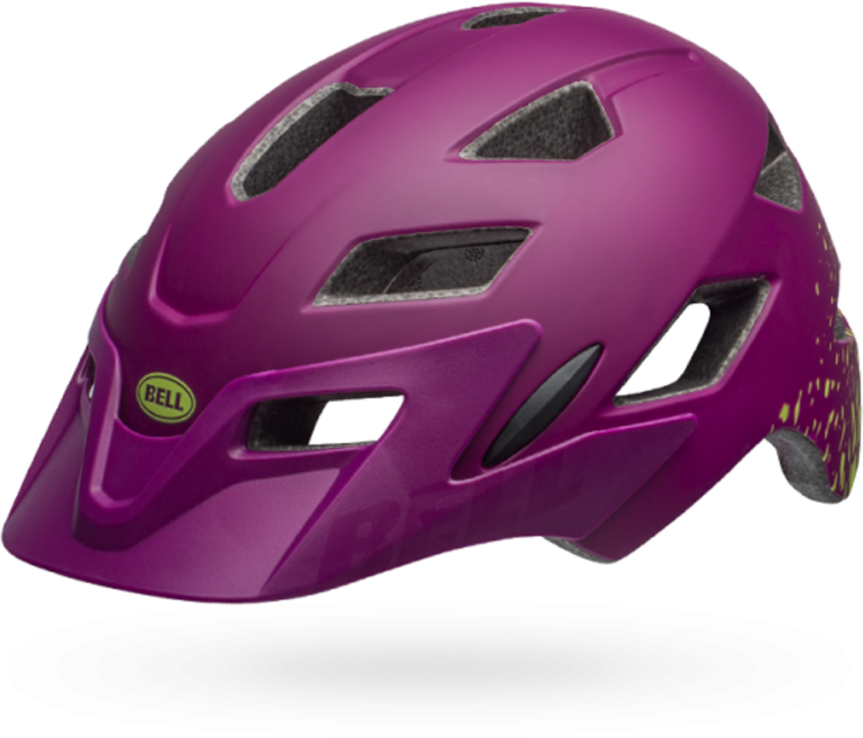 Шлем защитный детский Bell 18 Sidetrack, цвет: фиолетовый, зеленый. Размер S (50/57)