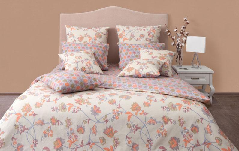 """Комплект постельного белья Хлопковый Край """"Элизабет"""", 2-х спальный, наволочки 70x70, цвет: оранжевый, зеленый, сиреневый"""