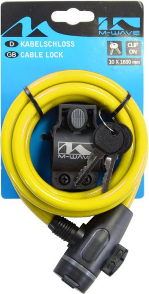 Велозамок M-Wave, с ключом, цвет: желтый, 10х1800 мм велозамок
