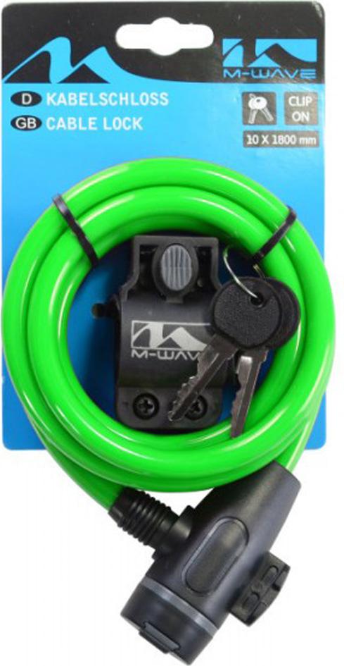 Велозамок M-Wave, с ключом, цвет: зеленый, 10х1800 велозамок