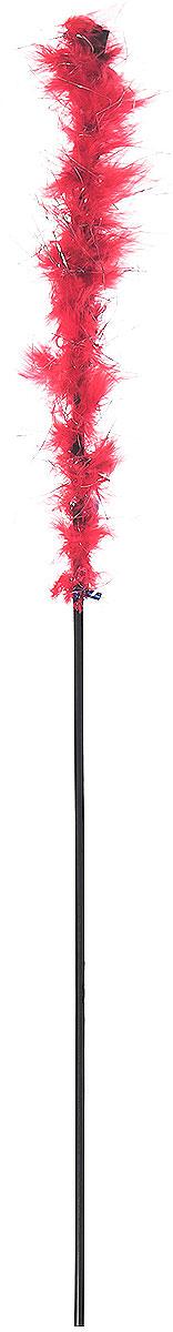Игрушка-дразнилка для кошек GLG Боа с блестками, цвет: красный, длина 60 см игрушка дразнилка для кошек glg страус на резинке цвет коричневый 4 см