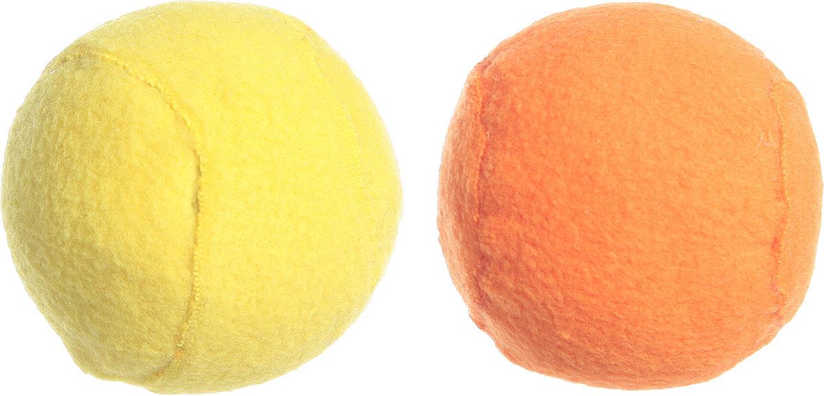 Игрушка для кошек GLG Мяч-погремушка, цвет: желтый, оранжевый, 4 см, 2 шт игрушка для кошек i p t s мяч погремушка с меховым хвостом в ассортименте