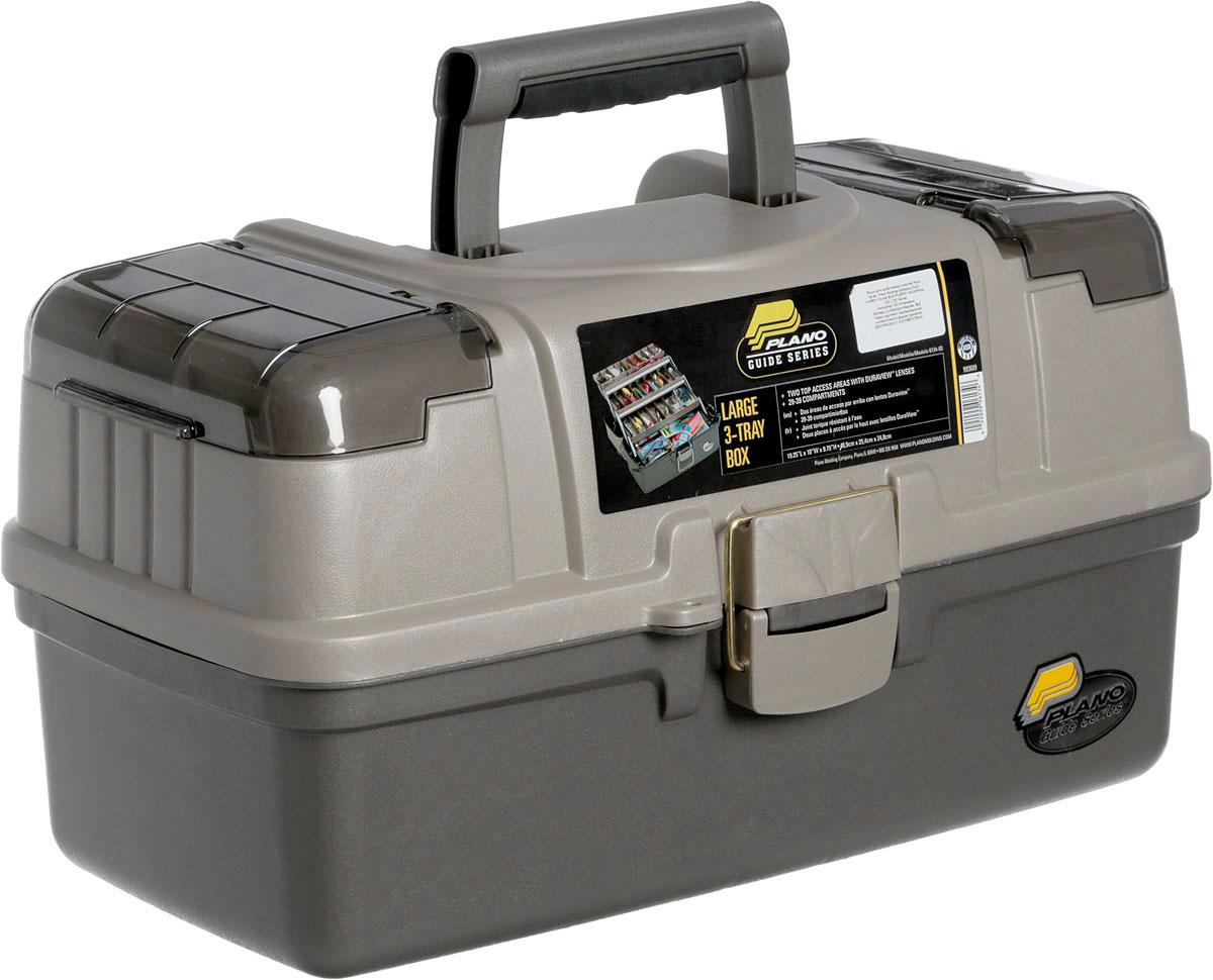 Ящик рыболовный Plano, с 3-х уровневой системой хранения приманок, цвет: серый