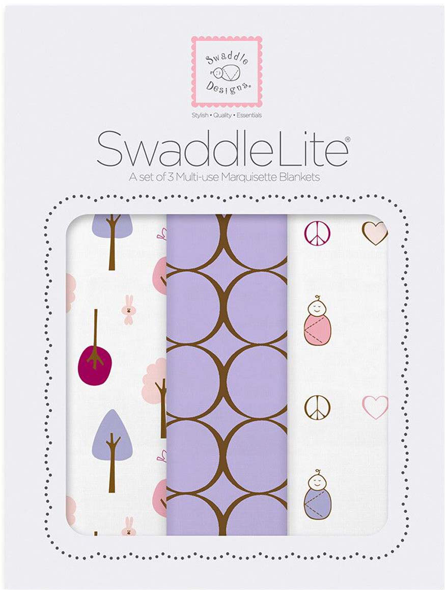 SwaddleDesigns Набор SwaddleLite Cute & Calm Lavender 3 шт
