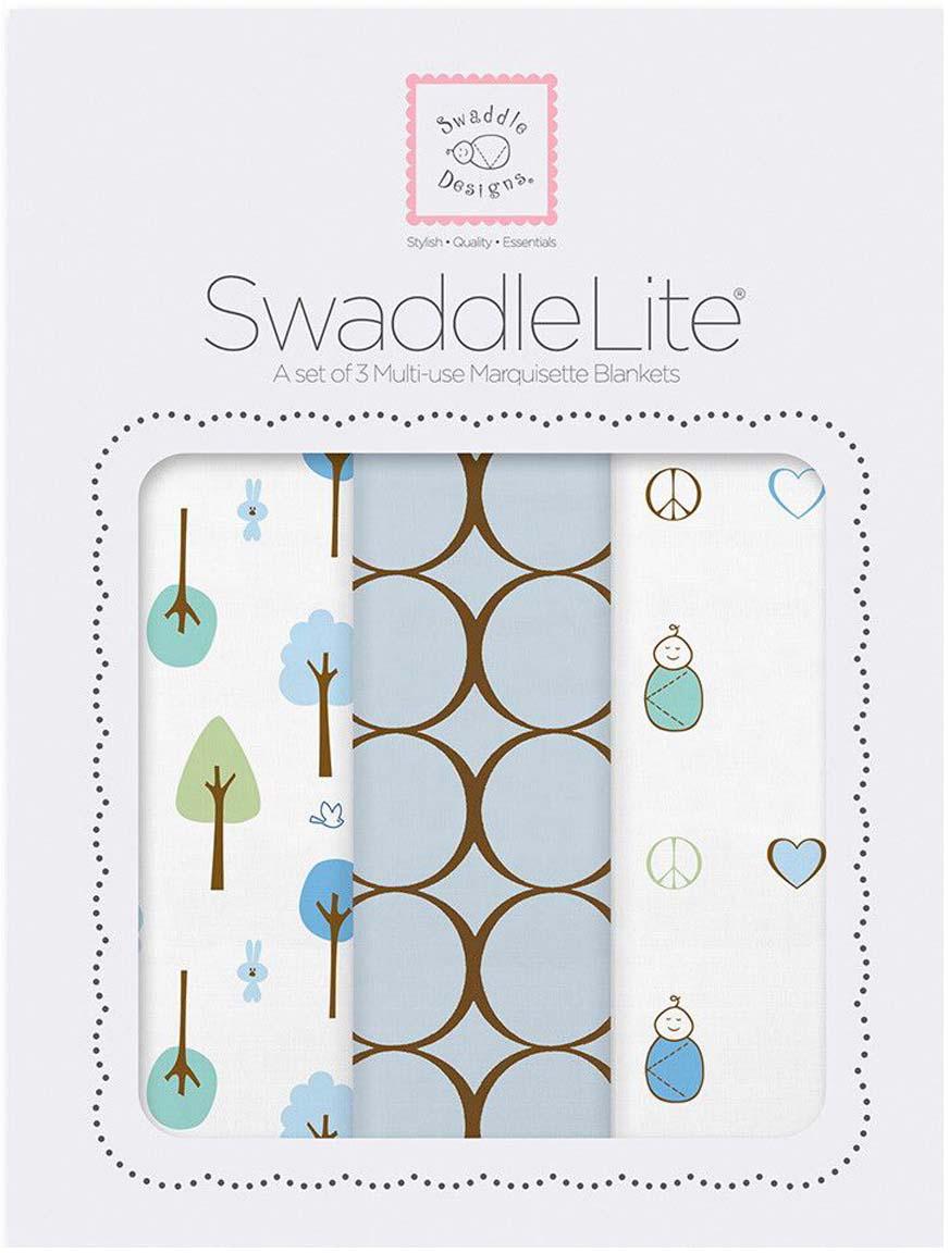 SwaddleDesigns Набор пеленок SwaddleLite Cute & Calm Pastel Blue 3 шт