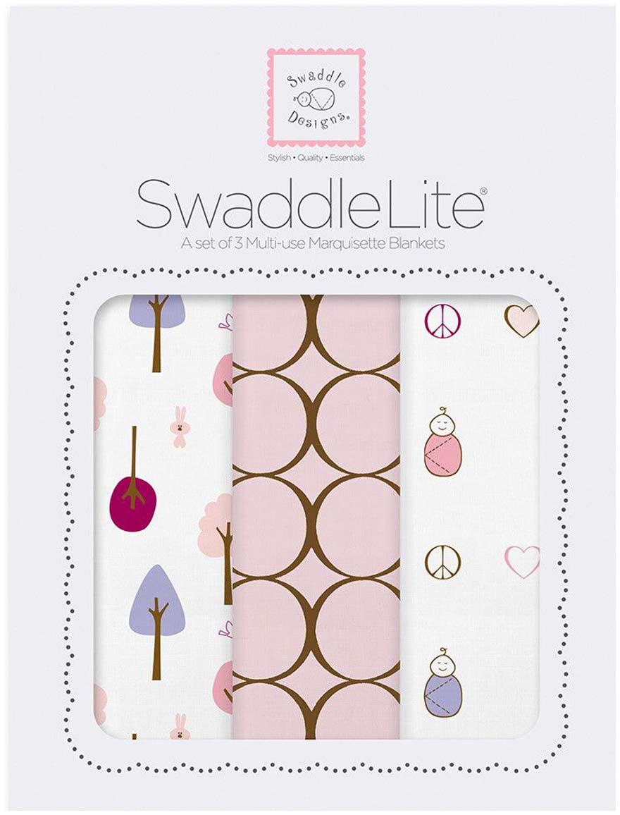 SwaddleDesigns Набор пеленок SwaddleLite Cute & Calm Pastel Pink 3 шт